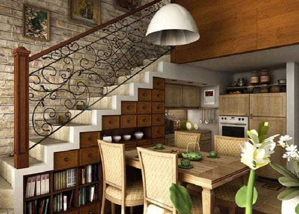 Cocinas en la sala for Salas con escaleras