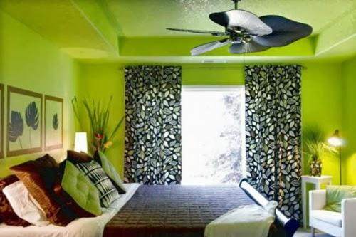 Dormitorio de color verde.